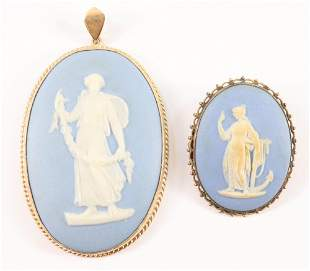 2 9k Gold Wedgwood brooches