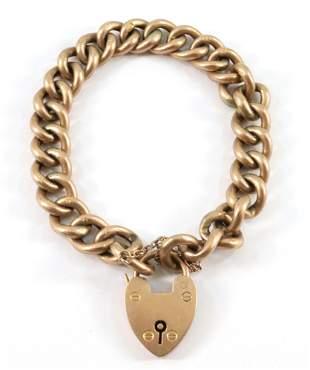 Victorian 9k Gold Padlock Bracelet