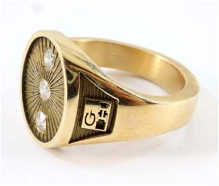 14k Gold and Diamond Gent's Ring