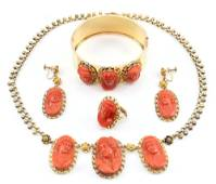 Gold and Coral Cameo Parure