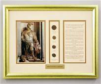 Framed Collection of 4 Early Roman Coins
