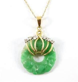 14k Jade Pendant