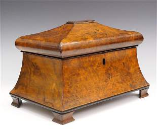 English Recency Burl Wood Tea Caddy