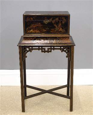 English Chinoiserie Box On Stand