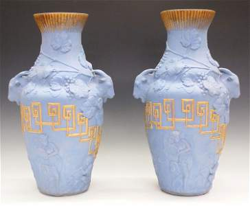 Pair of Ott & Brewer Earthenware Vases
