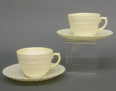 11: 2 Belleek cup and saucers