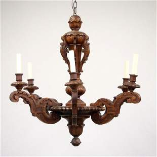 Carved Wooden Chandelier