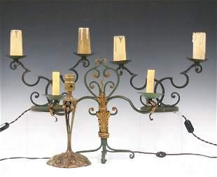 4 Iron & Brass Lamps