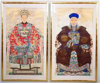 2 Chinese Ancestral Portraits