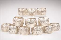 12 Thai Sterling Silver Napkin Rings