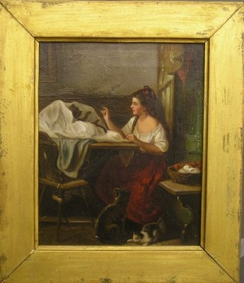 9: Woman with Cats painting