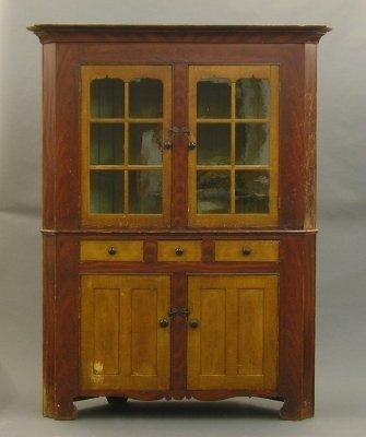 50: Painted corner cupboard