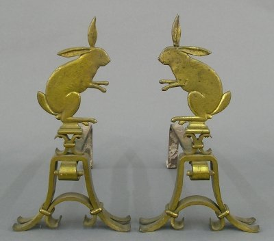 25: Brass Rabbit andirons