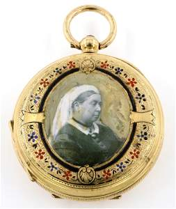 T M Mirza 18k Gold Pocket Watch with Enameled Portraits