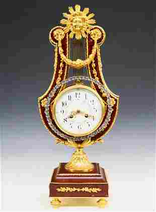 French Gilded Bronze Lyre Clock