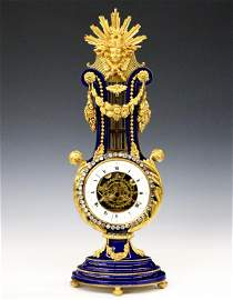 French Gilded Bronze And Porcelain Lyre Clock