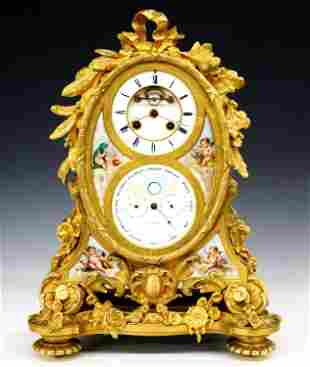 French Gilded Bronze Mantle Clock