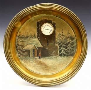 Painted Brass Plaque Clock