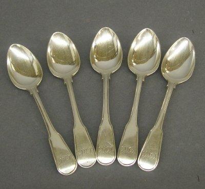 3: 5 Sterling Silver teaspoons.