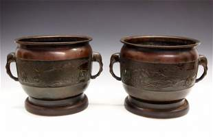 Pair of Japanese Bronze Jardinieres