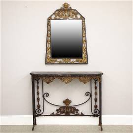 Wrought Iron Mirror & Console