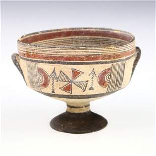 Greek Terracotta Footed Bowl