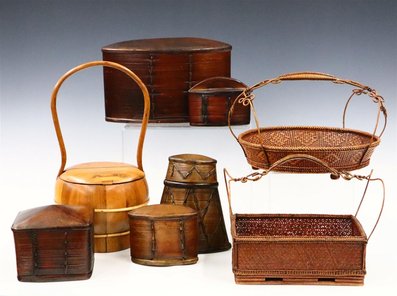 8 Chinese Covered Boxes/Baskets