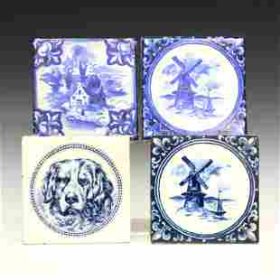 4 American Pottery Tiles
