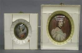 168: 2 Ivory miniature portraits