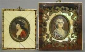 169: 2 Ivory miniature portraits