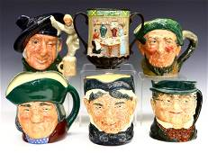 Six Royal Doulton Character Mugs and Loving Cup