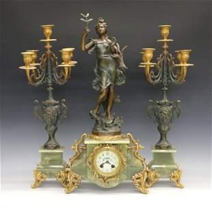 French Onyx Clock Set by A.D. Mougin