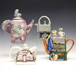 4 Decorative Ceramic Teapots