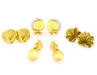 4 Pairs 18k Gold Earrings