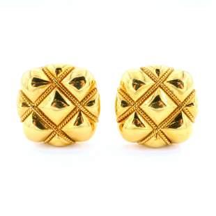 18k Gold Pillow Form Earrings