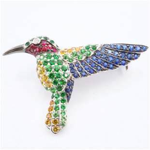 18k Gold Hummingbird Pin