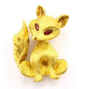 18k Gold Fox Pin