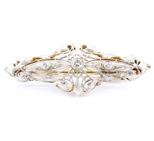 14k Gold and Platinum Art Deco Brooch