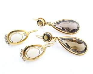 2 Pairs of 14k Gold Earrings