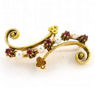 Gold Pin with Garnets and Pearls