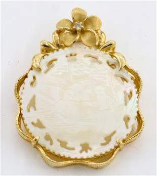 Gold Pendant with MOP Medallion