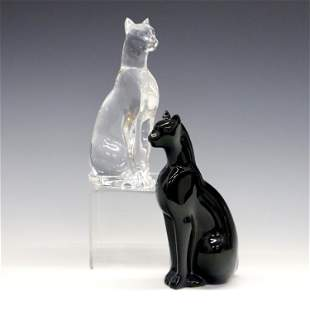 Pair of Baccarat Crystal Cats