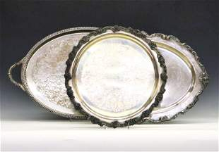 3 Silverplate Serving Trays