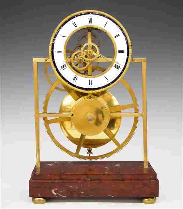 French Great Wheel Skeleton Clock