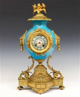 French Bronze & Porcelain Mantel Clock