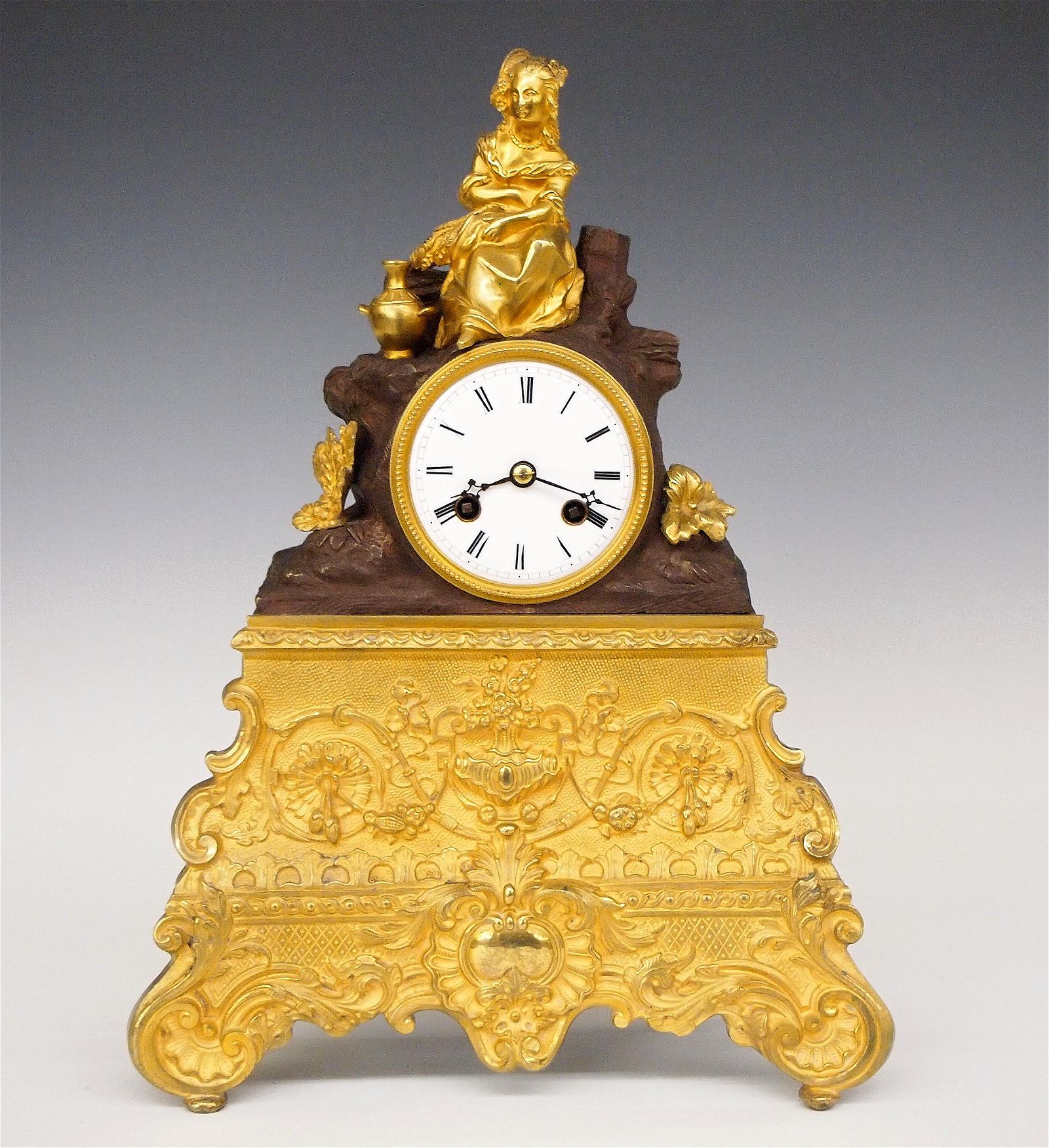 Japy Freres French Bronze Mantel Clock With Dome