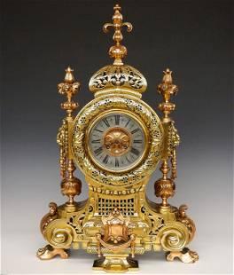 Large French Bronze Mantel Clock