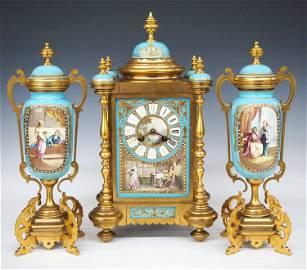 German Bronze & Porcelain Clock Set