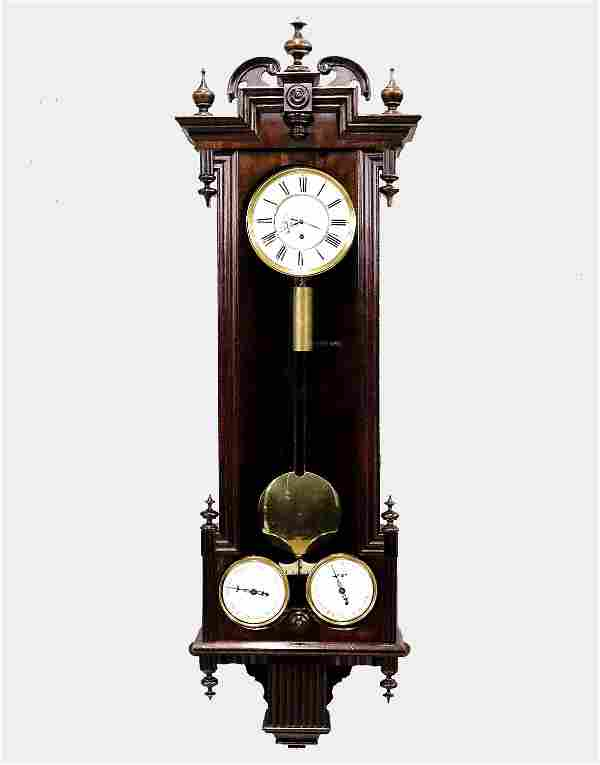 Rare Vienna Regulator Calendar Wall Clock