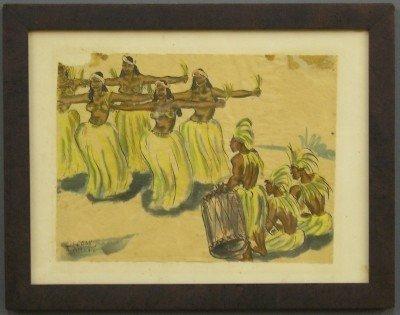 1: Watercolor of Tahitian Dancers